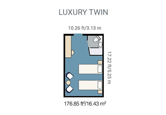 Map of Yacht La Pinta's luxury twin cabin