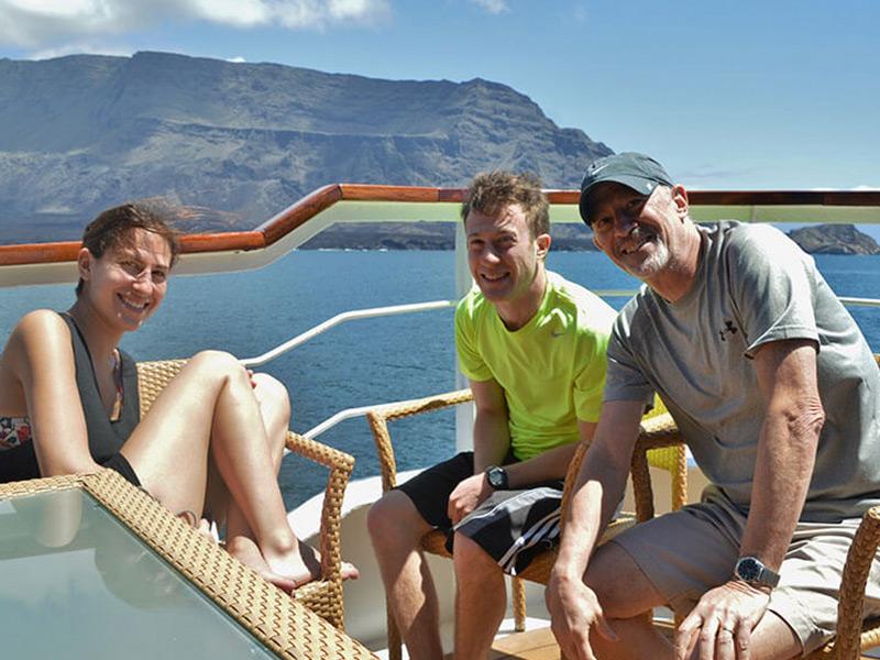 Yacht La Pinta's sun deck