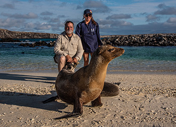 Sea lion with guests at the Galapagos Islands