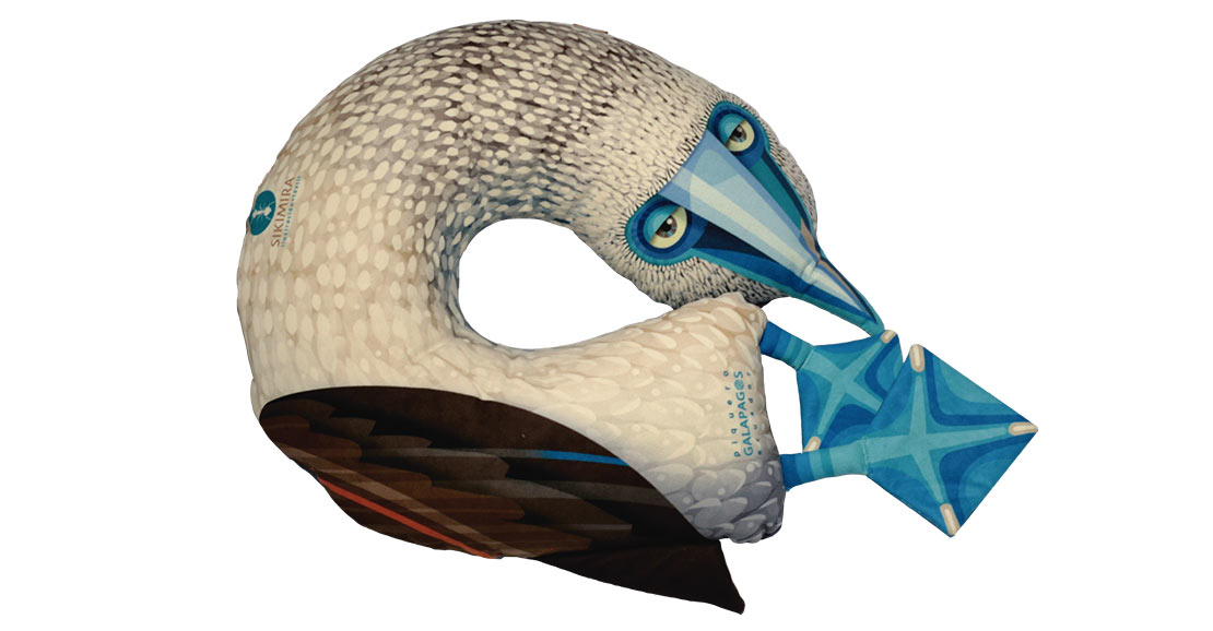 Blue-footed booby neck pillow