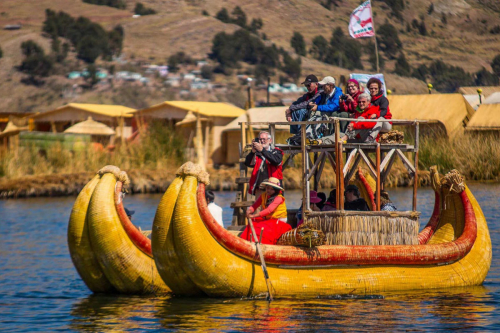 A boat in Lake Titicaca