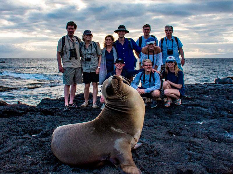 Guests admiring a sea lion